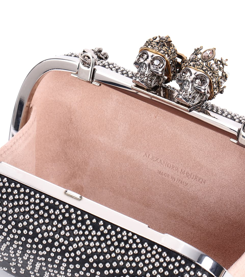 Alexander McQueen Queen and King studded box clutch Black Clearance Prices Sale Online Buy Cheap Genuine BOJZbIXX