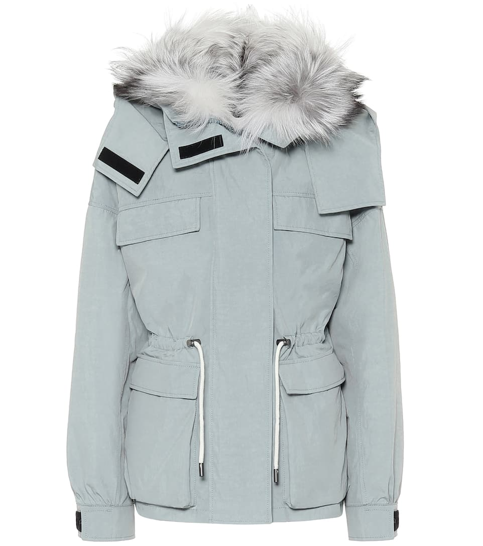 Army fur trimmed down parka