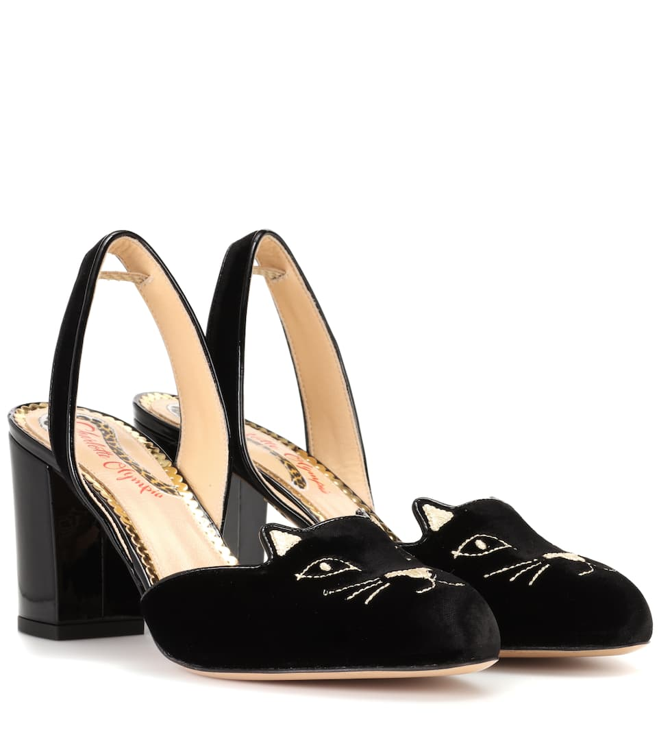 Charlotte Olympia Slingback-Pumps Kitty aus Samt