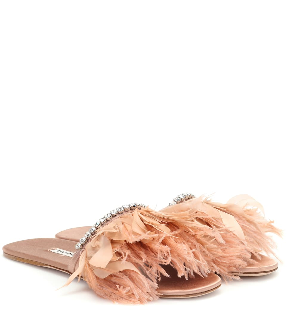 Feather-Trimmed Satin Slides in Neutral