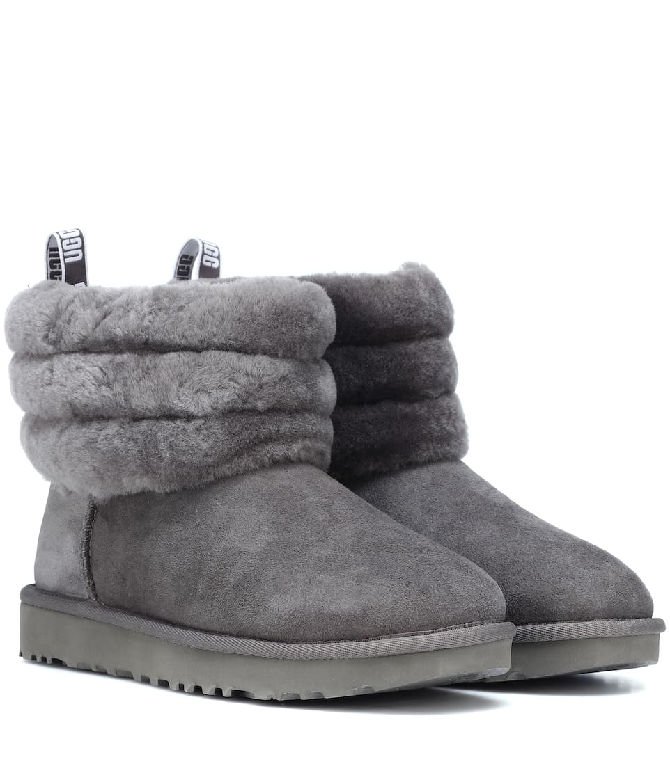 Fluff Mini Quilted Suede Ankle Boots by Ugg