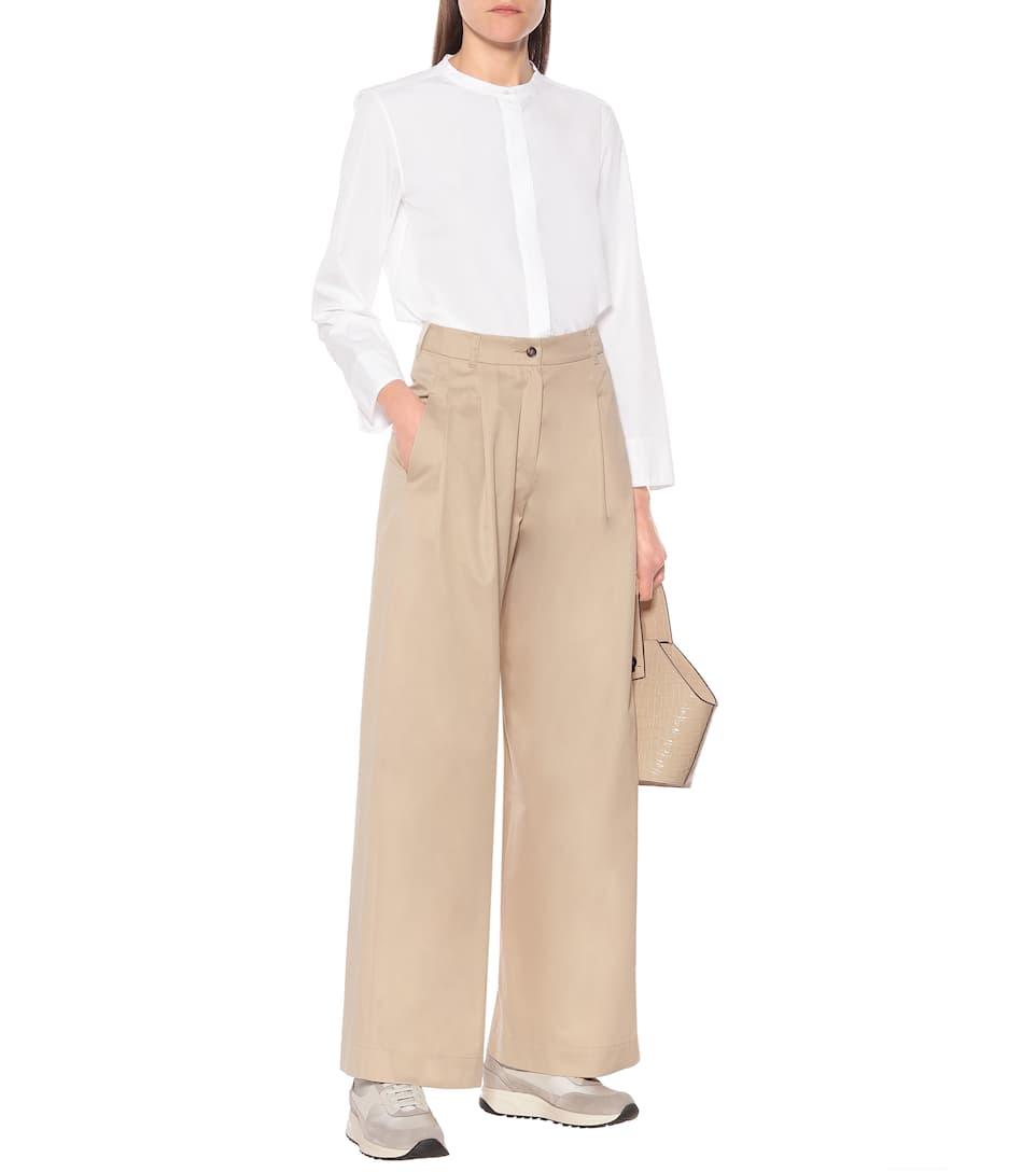 S Max Mara - High-rise wide-leg cotton pants