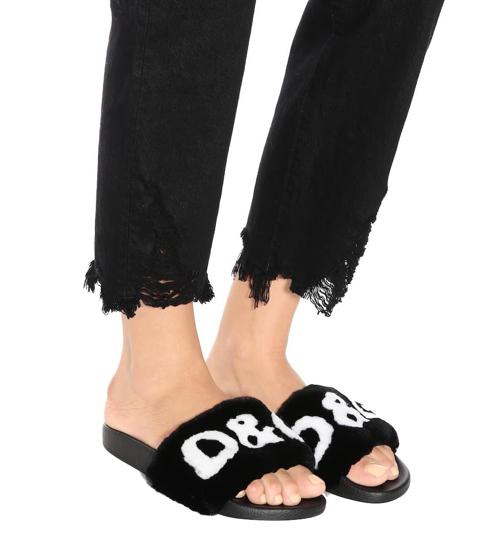 Dolce & Gabbana Pantoletten mit Fell
