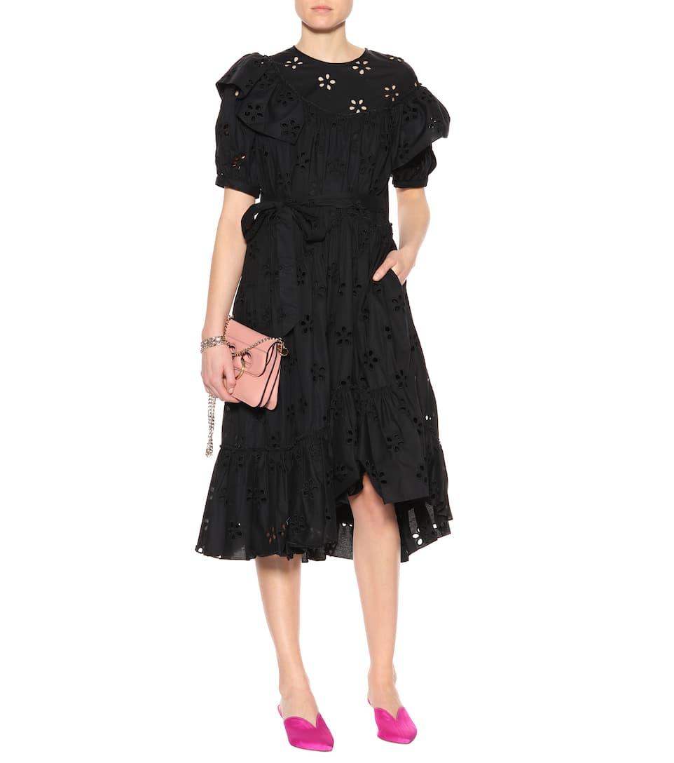 Simone Rocha Kleid aus Baumwolle mit Lochstickerei