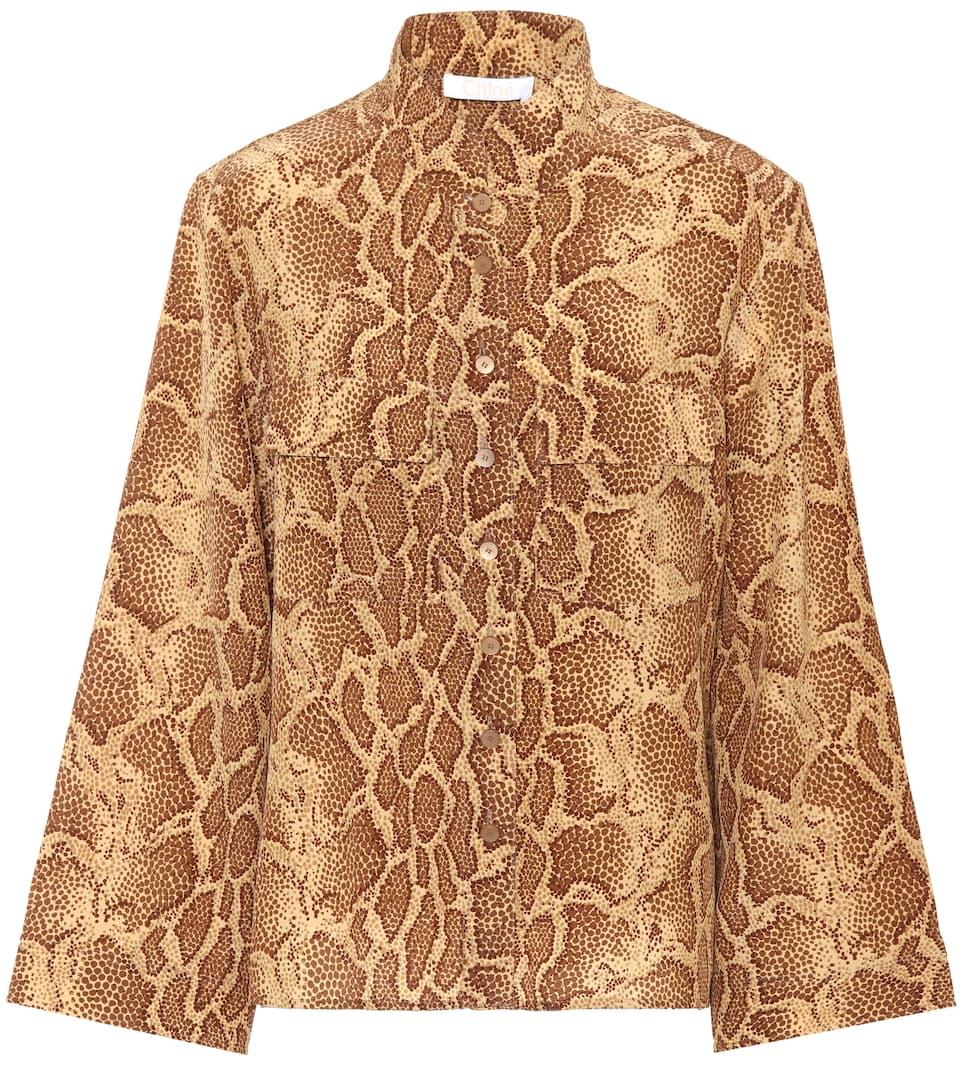 Patch-Pocket Python-Print Silk Shirt, Gold