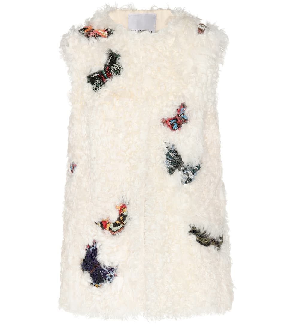 Valentino Embroidered Shearling Vest