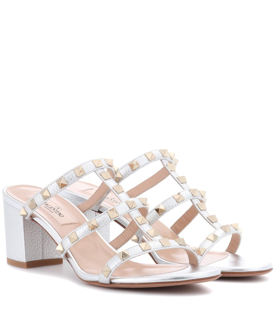 a89c09b54ff1 VALENTINO GARAVANI ROCKSTUD METALLIC LEATHER SANDALS