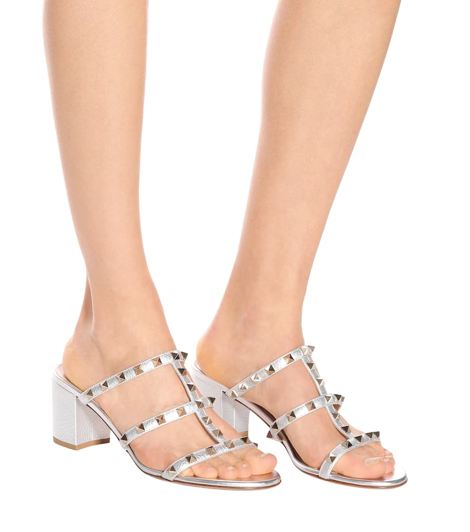 Buy Cheap Recommend Clearance Websites Valentino Valentino Garavani Rockstud metallic leather sandals Silver Shop For Sale Shop Offer Clearance High Quality i5J1TQH