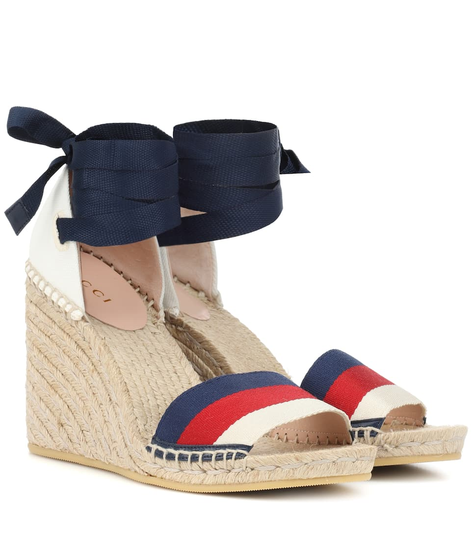 Sylvie Web Espadrille Wedges by Gucci
