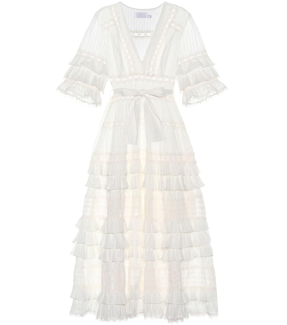 Zimmermann Kleid Corsair Frill aus Baumwolle