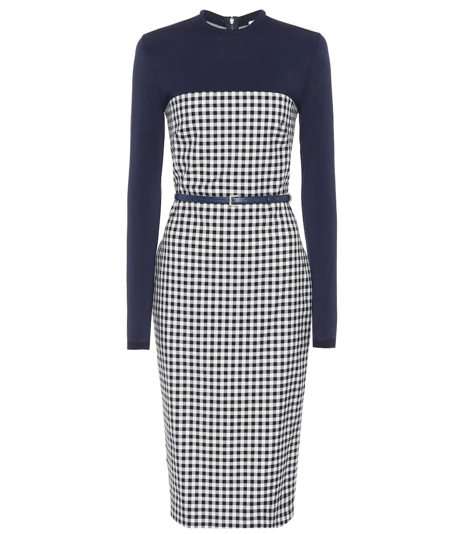 STRETCH-JERSEY AND GINGHAM WOOL-BLEND DRESS