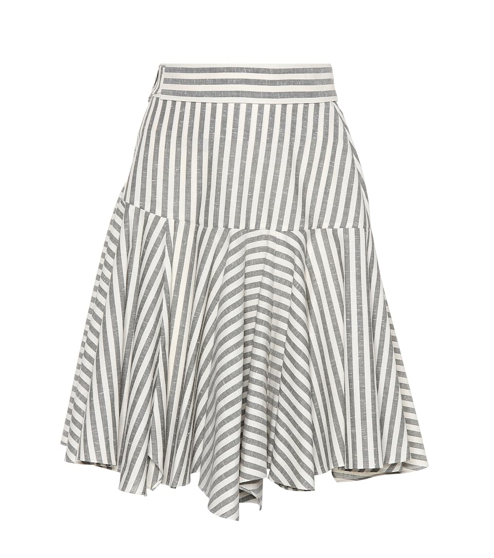 Striped Cotton Skirt in White