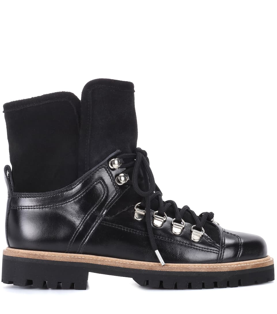 Ganni Ankle Boots Edna aus Leder und Veloursleder