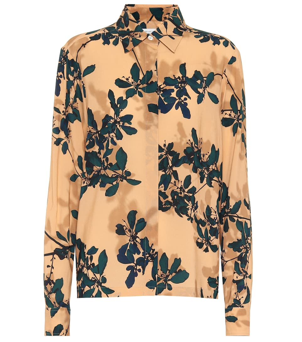 Camicia a stampa floreale in crêpe