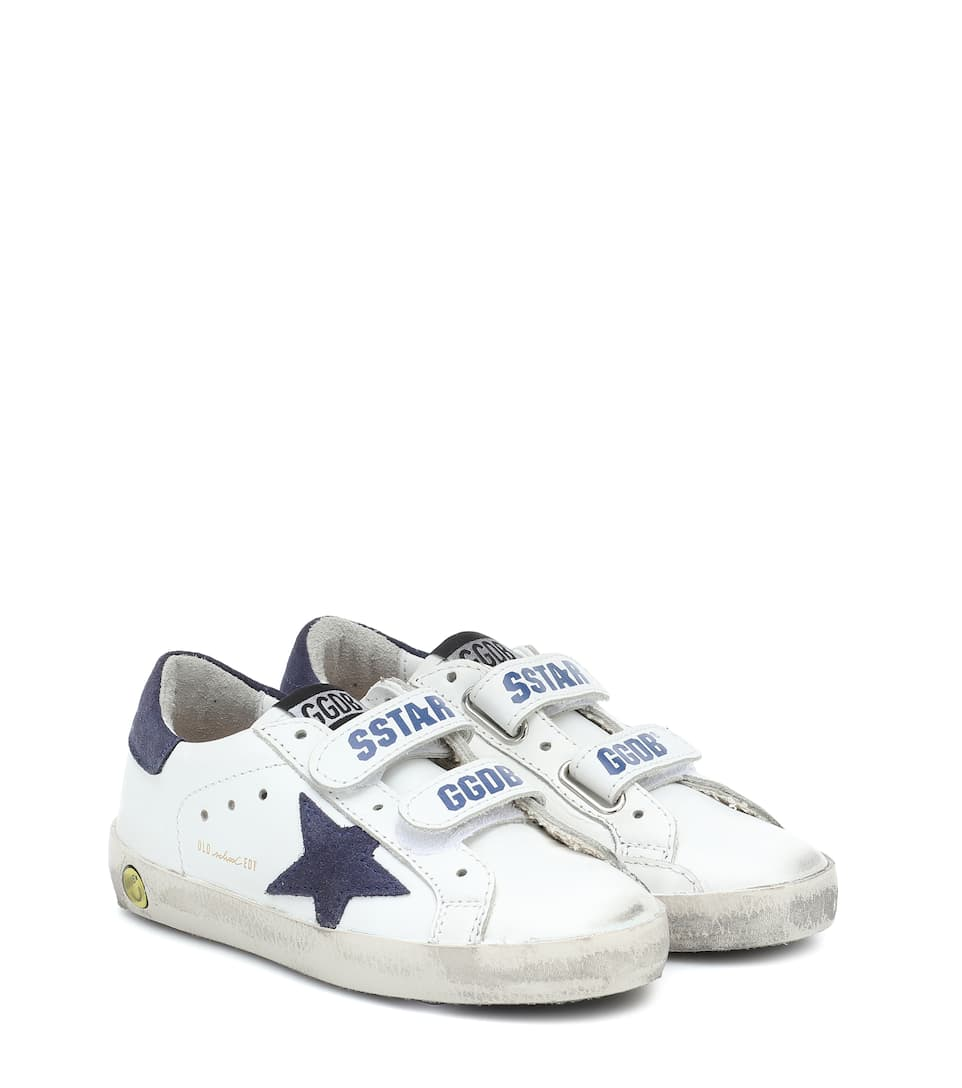 Golden Goose Old School Leather Sneakers, Toddler/kids In White Leather/ Navy Star