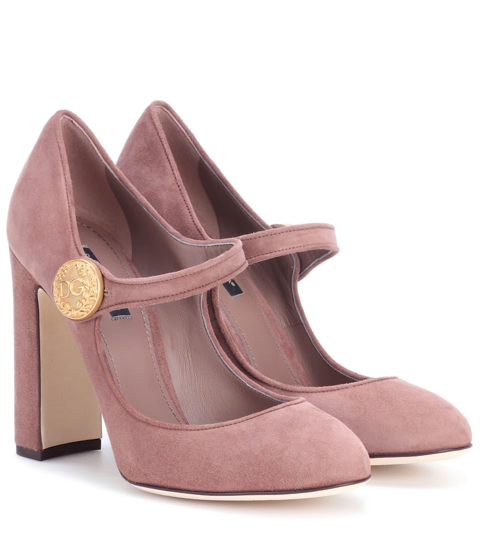 Mary-Jane-Pumps aus Veloursleder Dolce & Gabbana Günstig Kaufen 100% Garantiert b3amSH