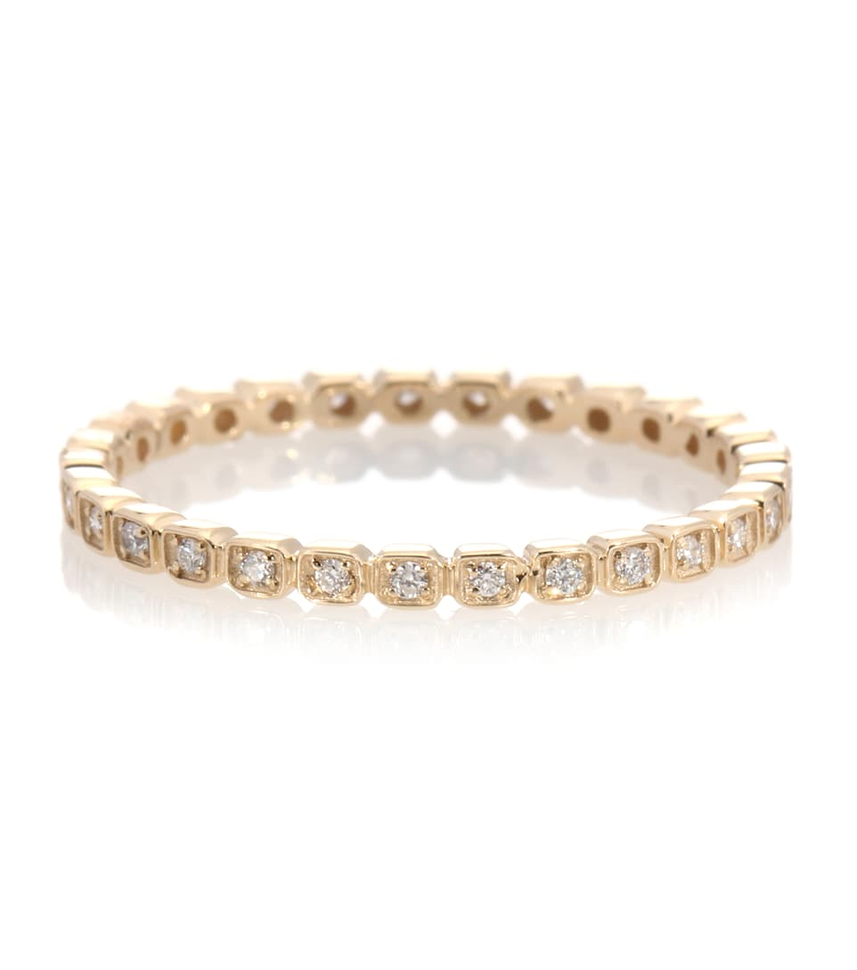 Anna Sheffield - Bague en or 14 ct et diamants Tiny Wheat Eternity