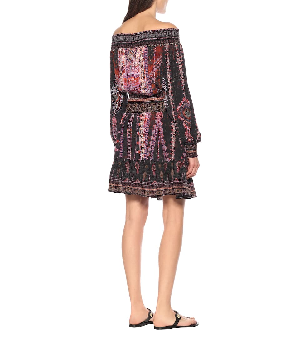 Embellished Printed Silk Minidress - Camilla