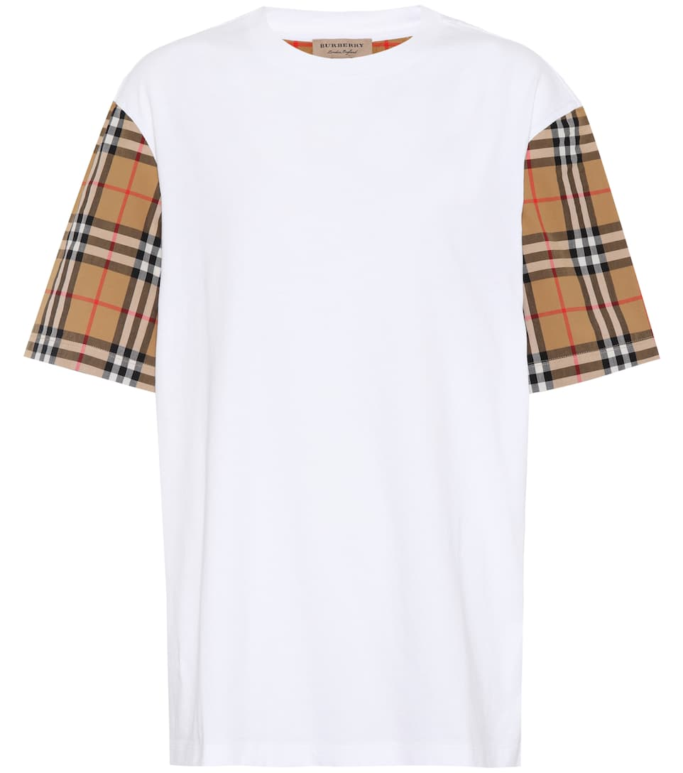 BURBERRY Serra Jersey T-Shirt W/ Check Sleeves in White