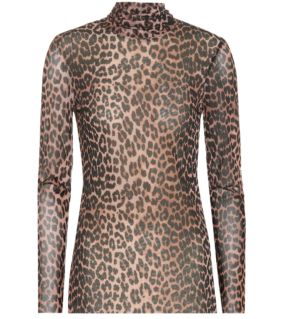 Tilden Leopard Printed Rollneck Top by Ganni