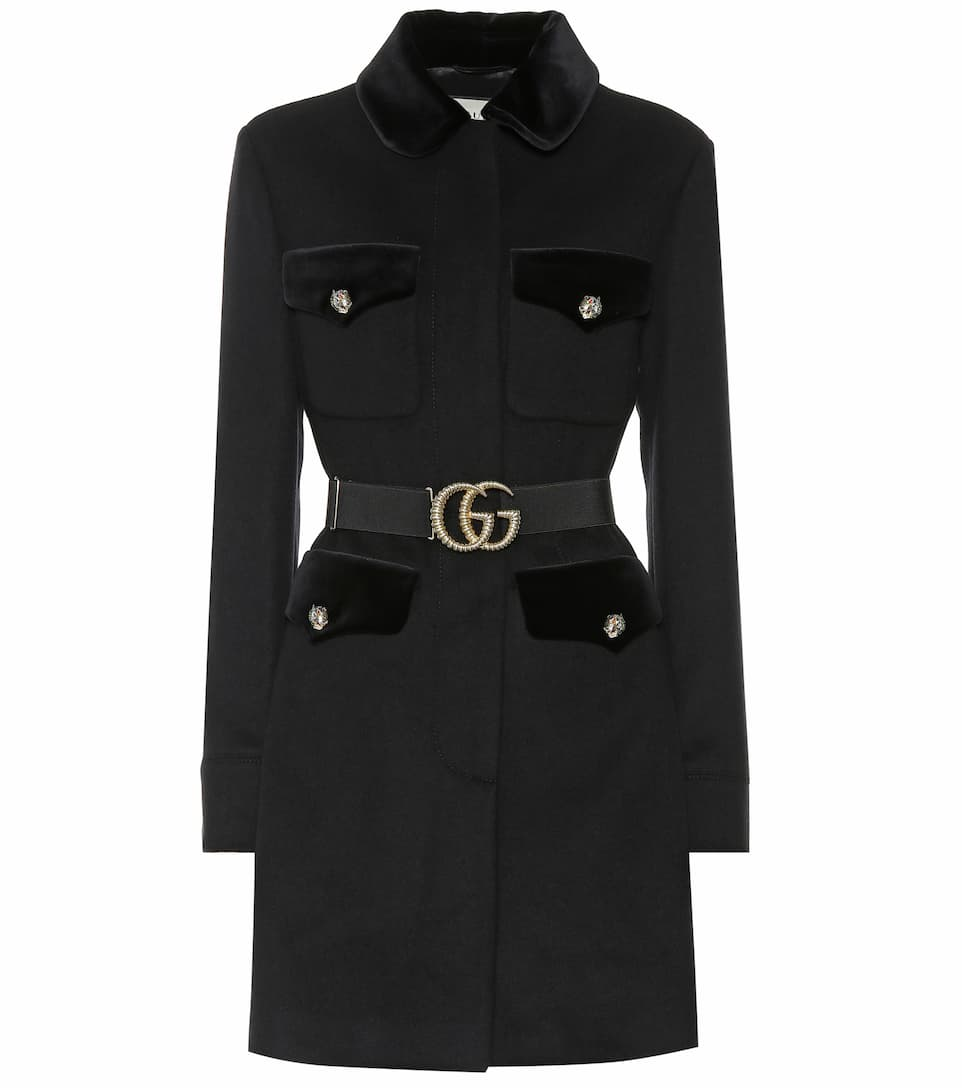 Embellished Wool Blend Coat by Gucci