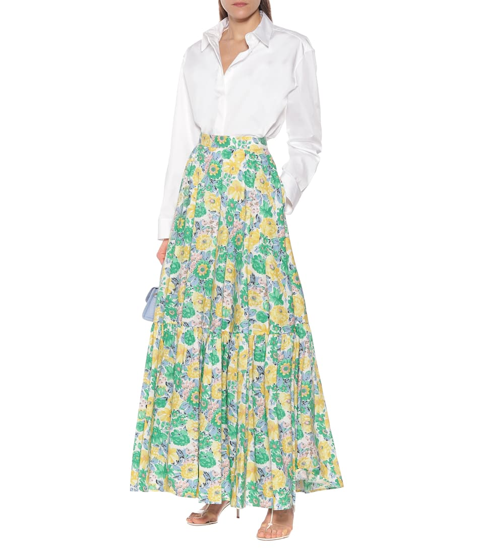 Plan C - Floral Cotton Maxi Skirt Big Discount