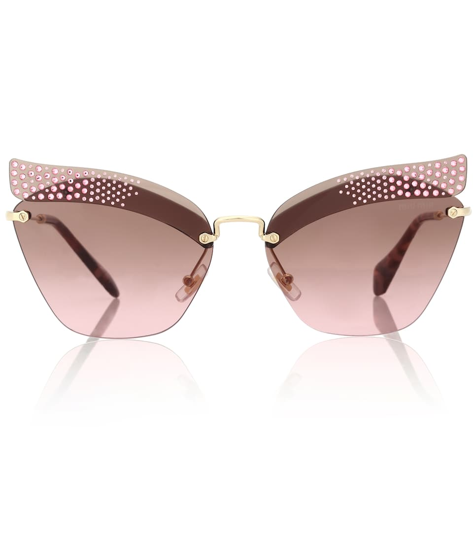 f97f387986 MIU MIU WOMEN S EMBELLISHED CAT EYE SUNGLASSES