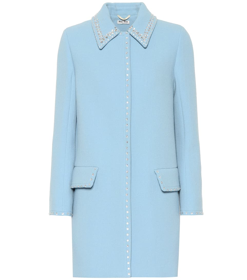 Embroidered Wool Coat by Miu Miu