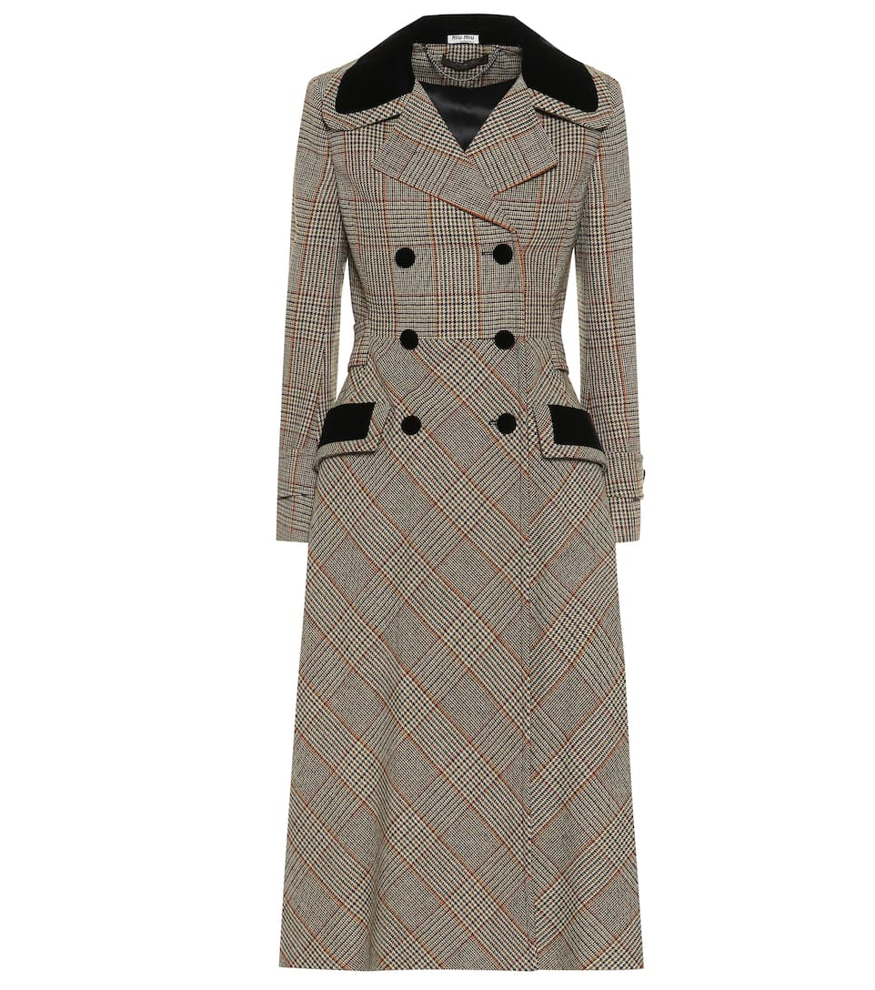 hot-selling genuine nice cheap search for official Checked wool-blend coat