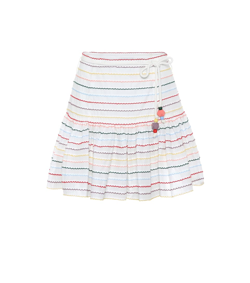 Zinnia Striped Cotton Miniskirt by Zimmermann