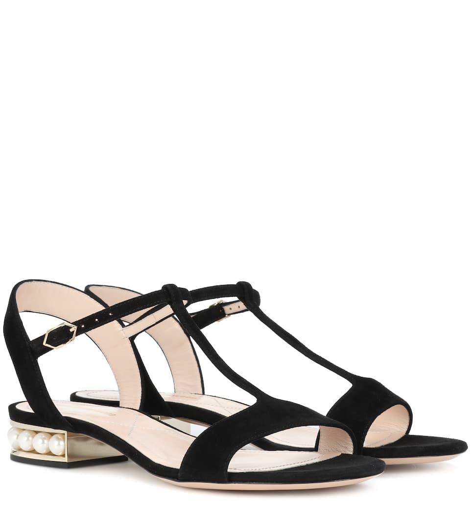 Nicholas Kirkwood Casati Pearl T-bar suede sandals cheap sale best KazLkIAx1