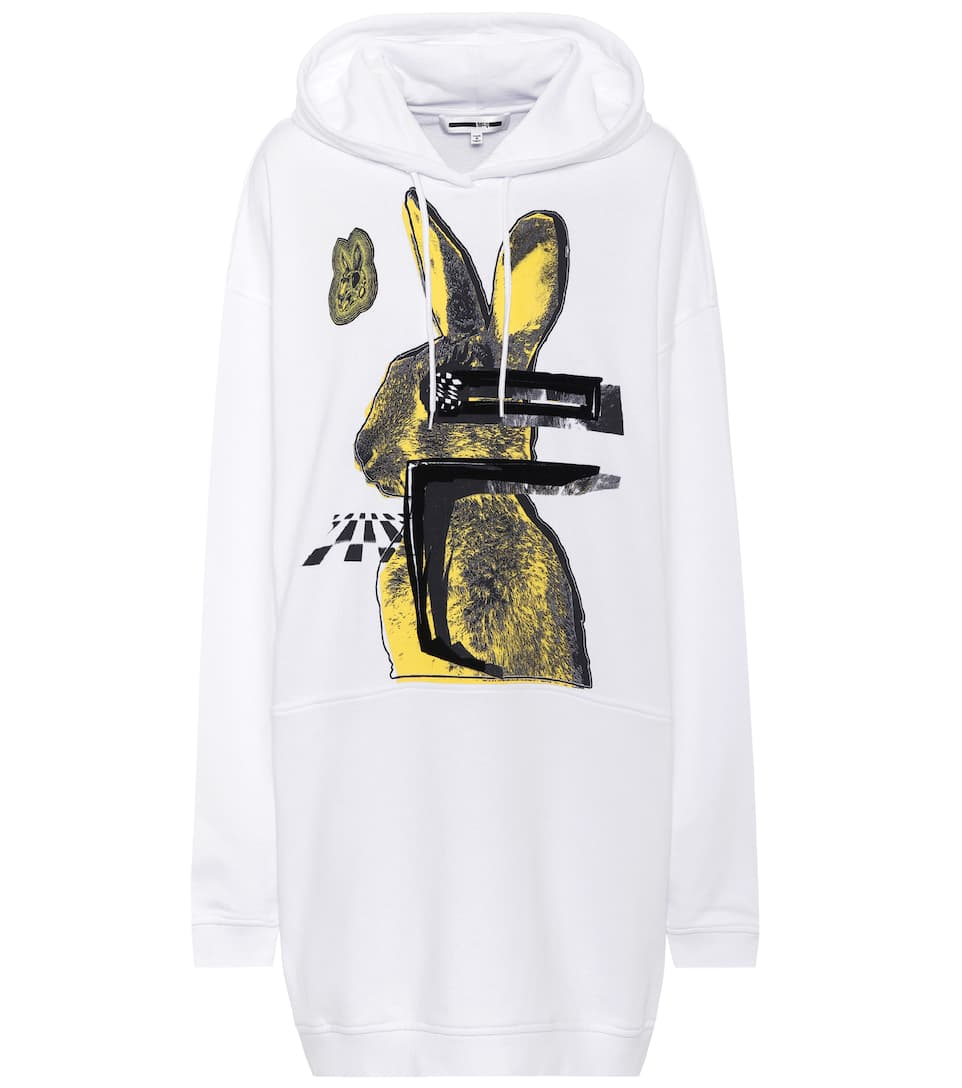 369846dbcd Glitch Bunny Cotton Hoodie Dress - McQ Alexander McQueen