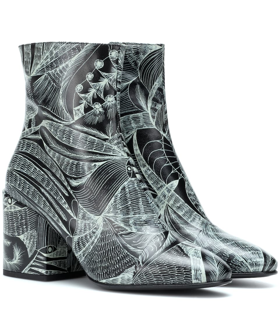 Printed Leather Ankle Boots by Dries Van Noten