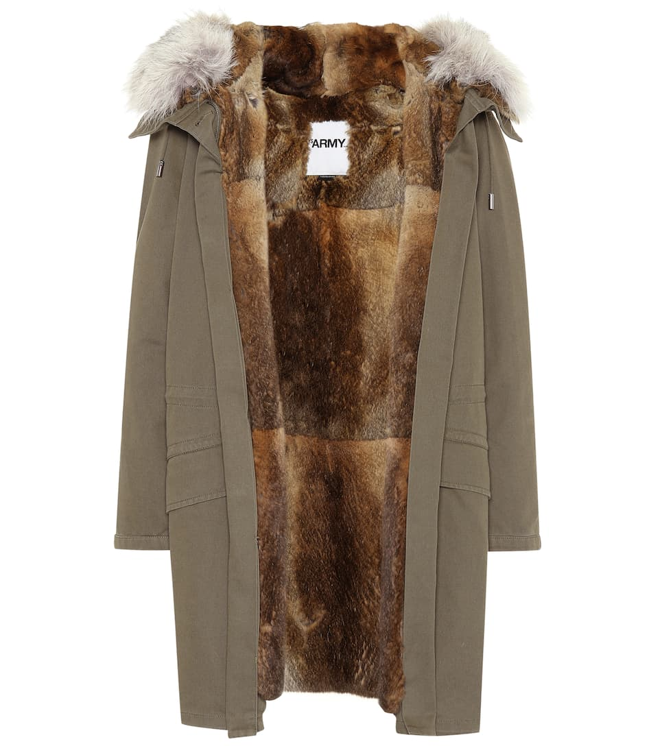 Fur Trimmed Cotton Coat by Yves Salomon   Army