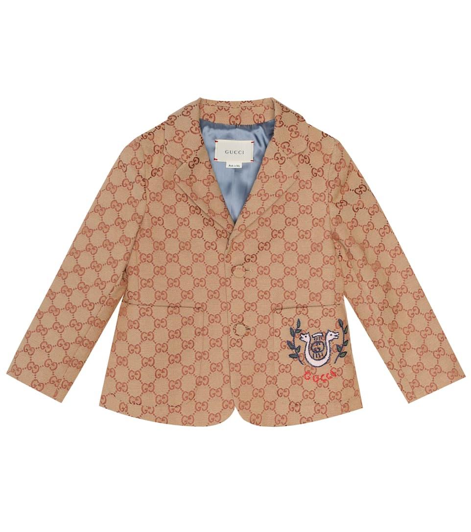 Gucci Kids' Little Boys & Boy's Gg Canvas Jacket With Lyre In Beige