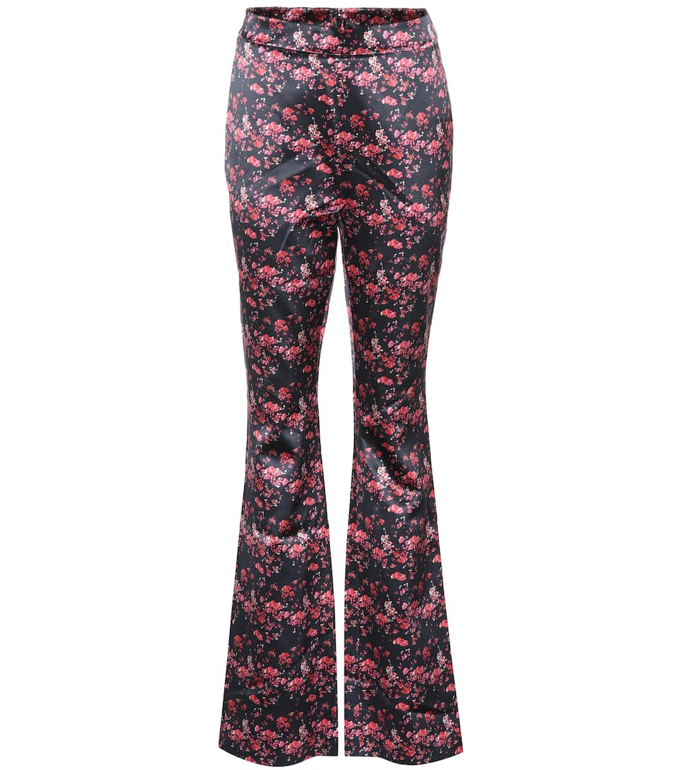 Ivy Silk Satin Trousers in Multicoloured