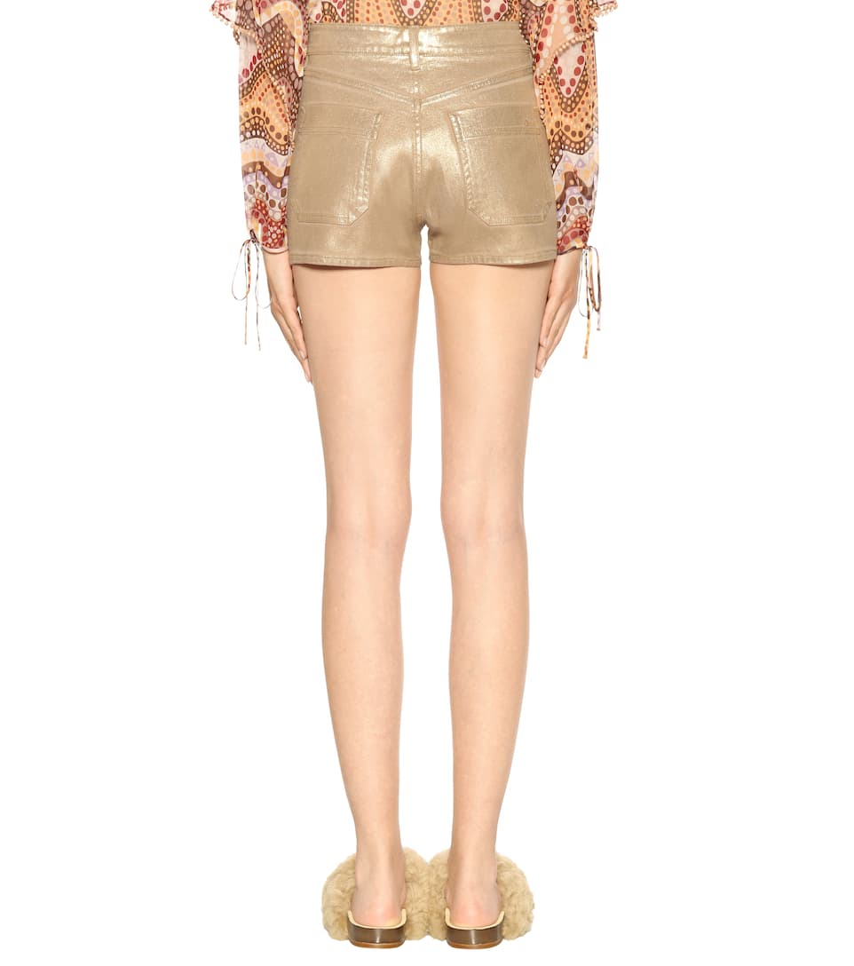 Chloé Exclusive Bei Mytheresa.com? Denim Shorts Mit Metallic Finish