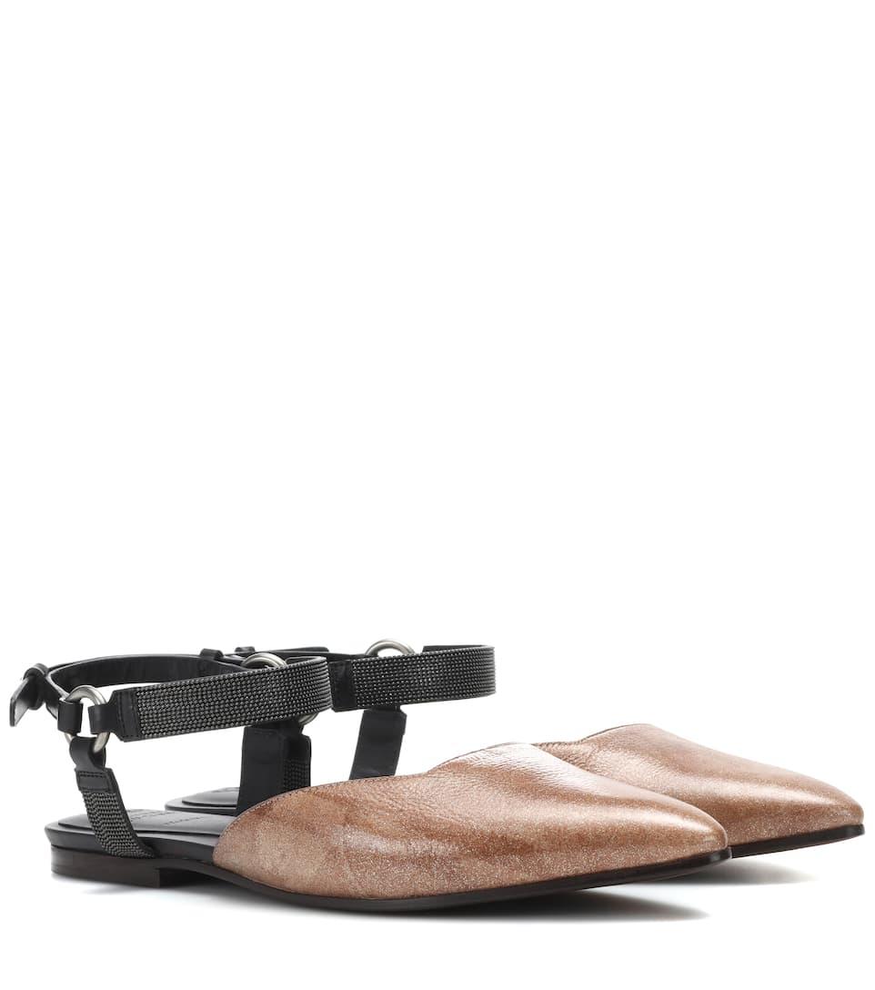 Sandales En Cuir Brunello Cucinelli WNnvj