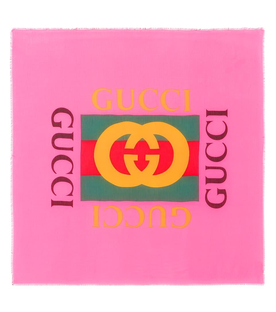 01189cb45e7c9 Bedruckter Logo-Schal Mit Seidenanteil - Gucci