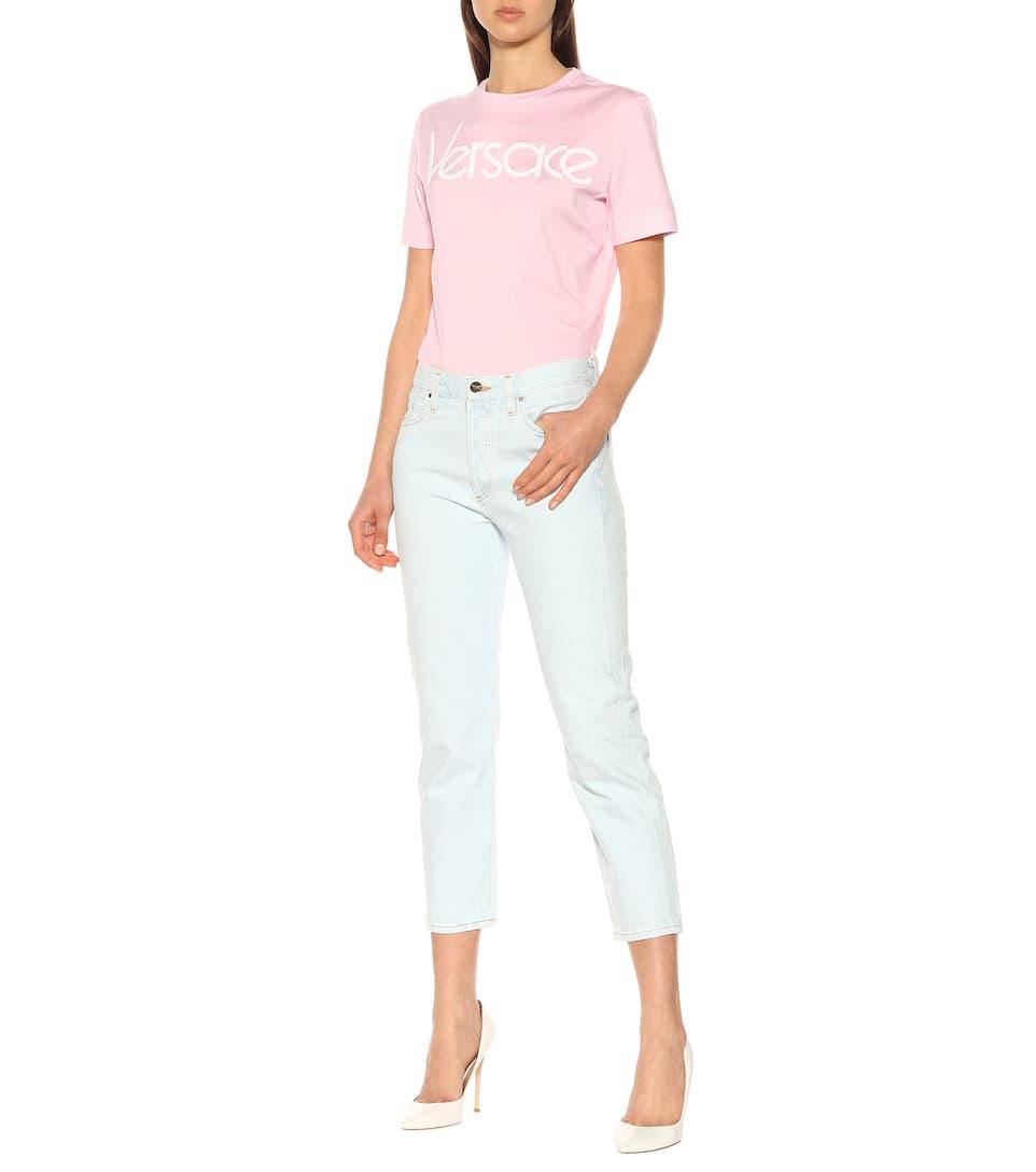 blanca Vintage de rosa Logo Versace algodón camiseta wv7gA7fqx
