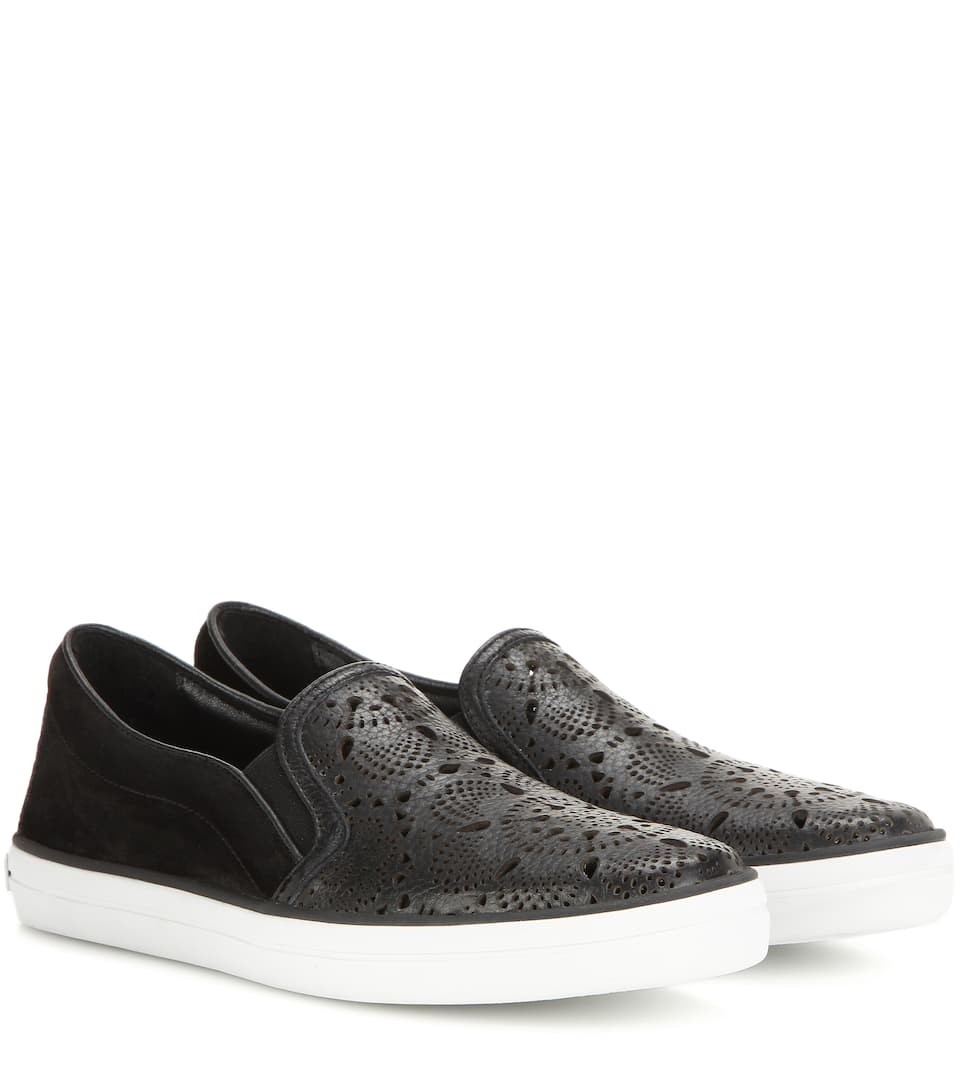 Burberry Gauden cut-out leather and suede slip-on sneakers