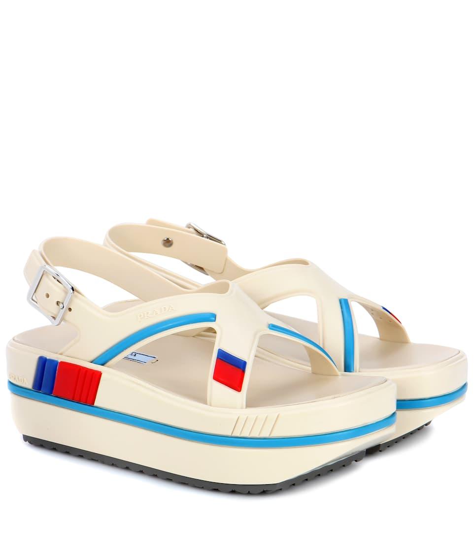 rubber platform sandals prada mytheresa