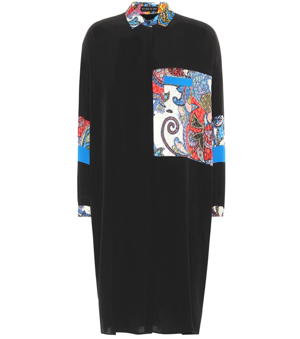 Etro - Robe chemise en soie imprimée