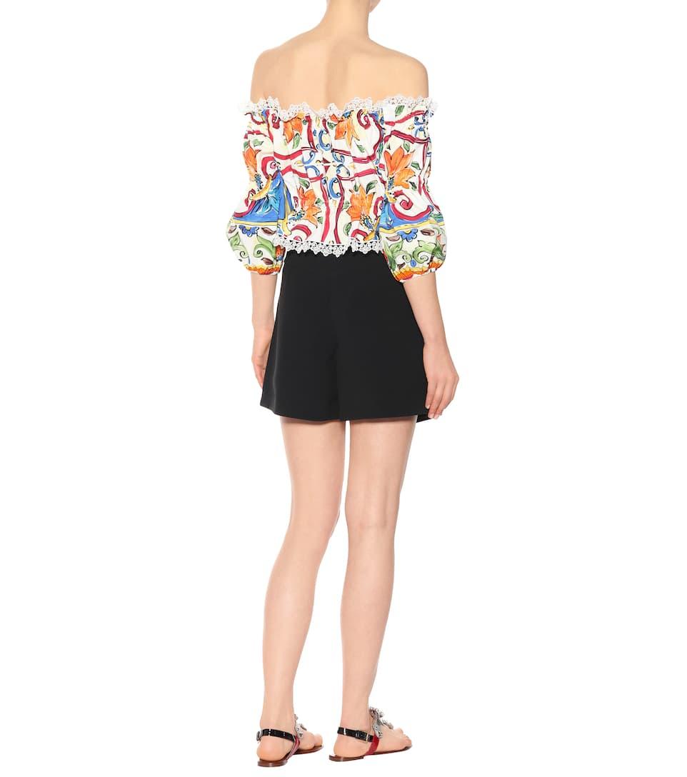Dolce & Gabbana Bedrucktes Cropped Top aus Baumwolle