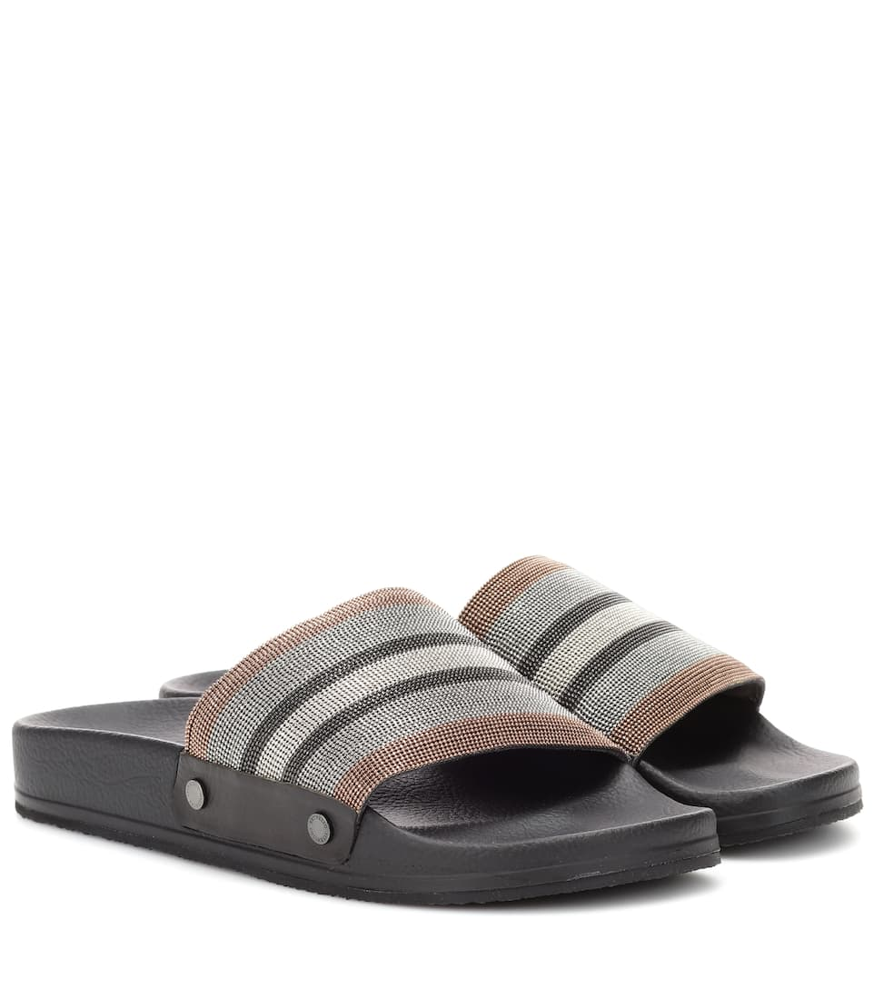 outlet get to buy Brunello Cucinelli Embellished slides free shipping genuine get authentic sale online clearance for nice vmqdWfu6u