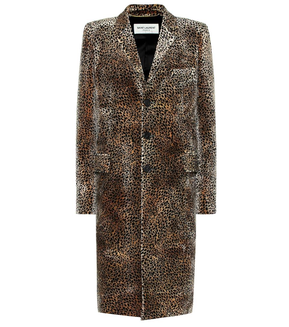 Leopard Print Velvet Coat by Saint Laurent