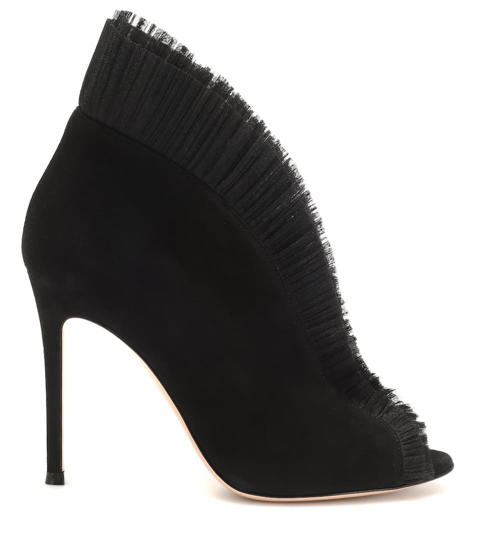 3282ae1c67f8 Gianvito Rossi - Tulle 105 suede ankle boots | Mytheresa