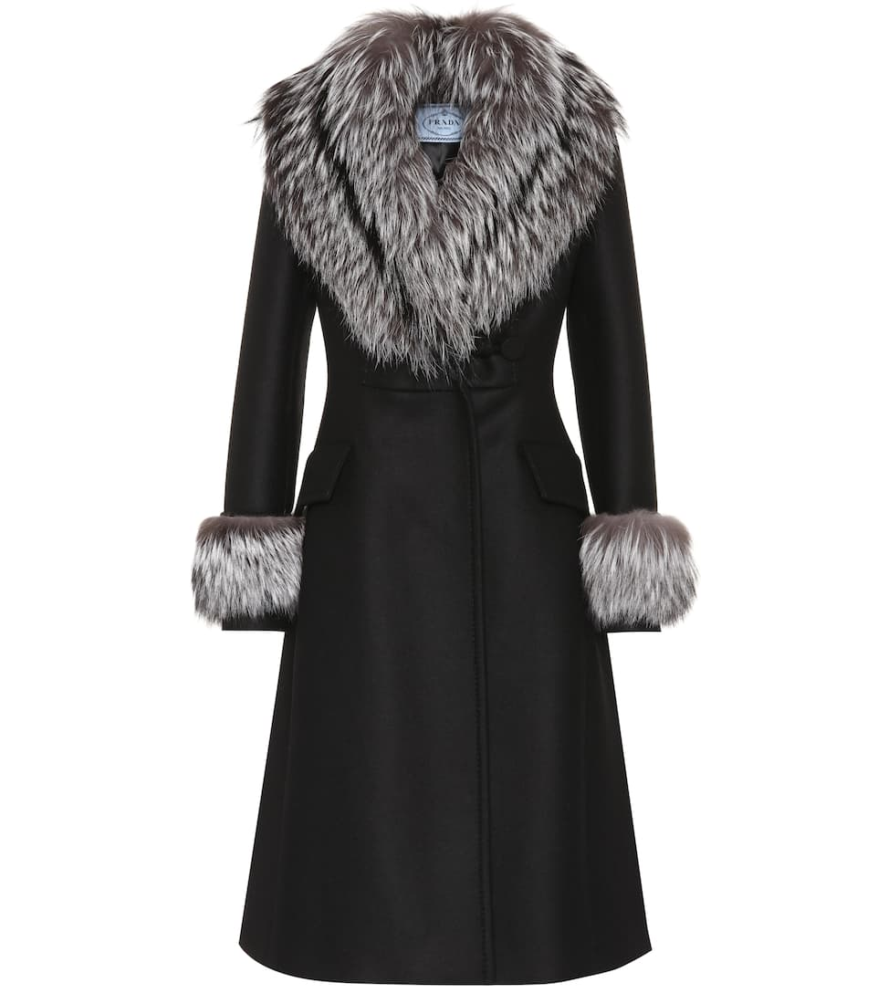 fur trimmed wool coat prada mytheresa. Black Bedroom Furniture Sets. Home Design Ideas