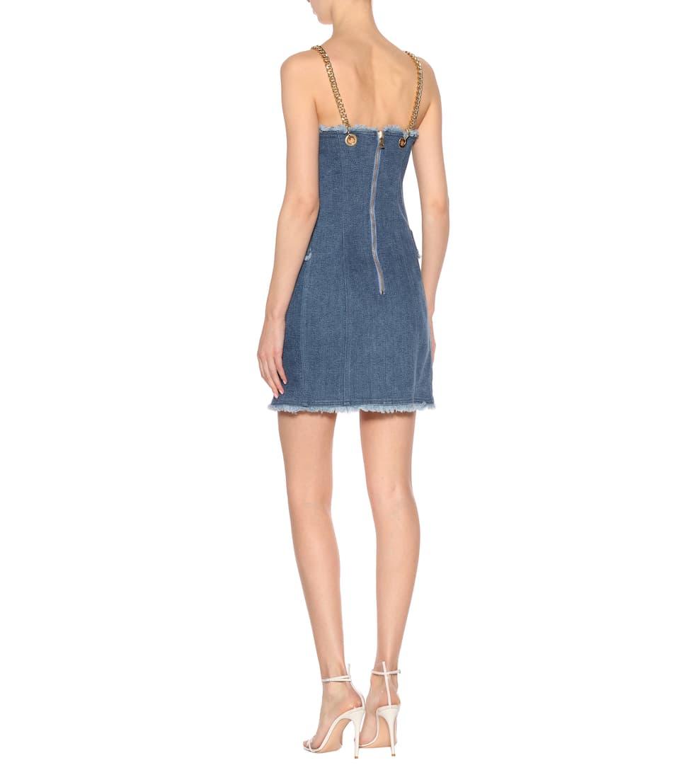 Balmain Studded Jean Dress In Mini Length