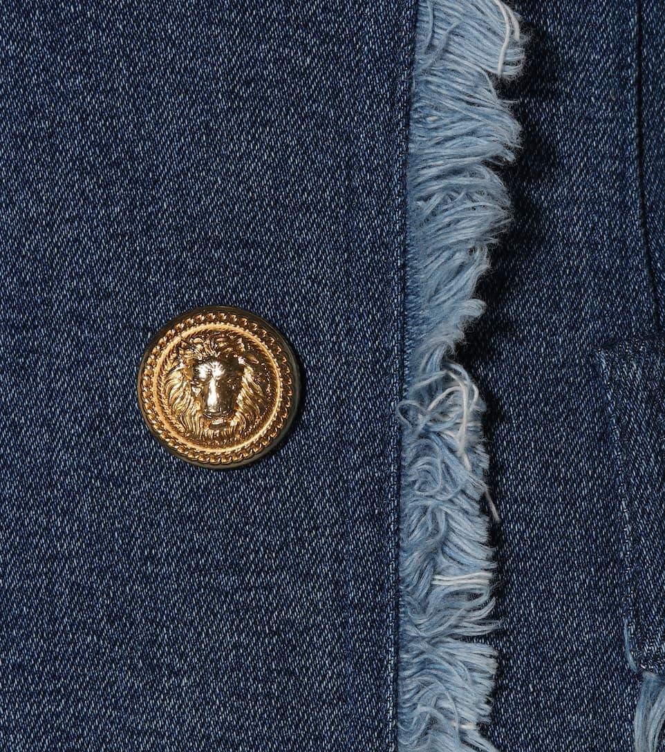 Balmain Verziertes Jeanskleid in Minilänge